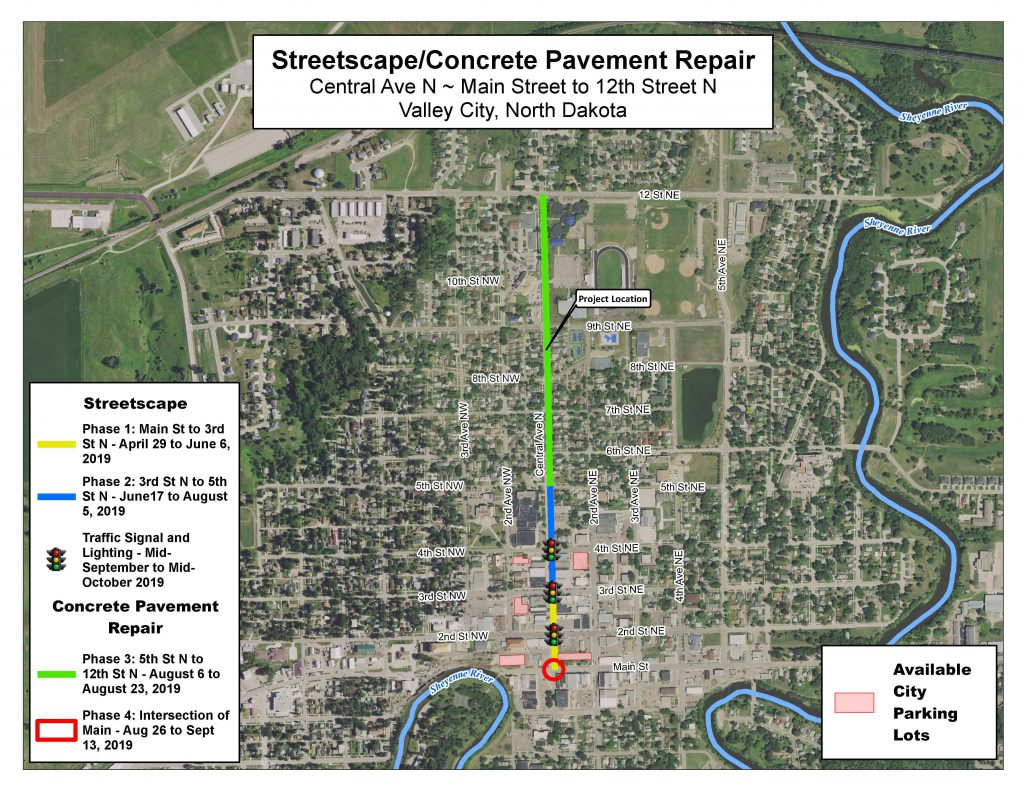 Map providing detail for Phase 1, Phase 2, Traffic Signal and Lighting, Phase 3 and Phase 4 locations for the Streetscape/Concrete Pavement Repair
