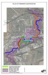 Valley City Permanent Flood Protection Map provides details regarding location of installed permanent flood protection, planned permanent flood protection, and the floodway.