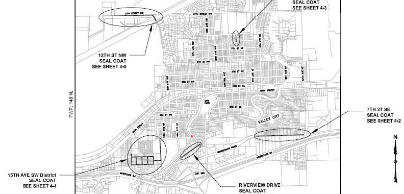 map of Paving 121 seal coat district
